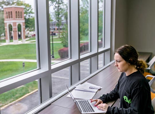 A student sitting by a window taking an online degree on her laptop.